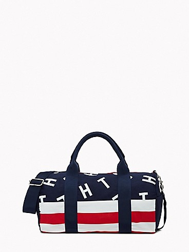 타미 힐피거 키즈 스트라이프 더플백 Tommy Hilfiger TH Kids Stripe Duffle Bag,PEACOAT/MULTI-CANVAS