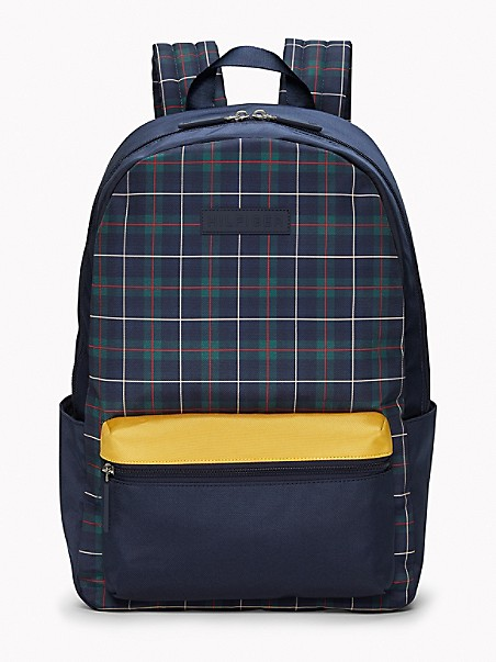 TOMMY HILFIGER Plaid Logo Backpack