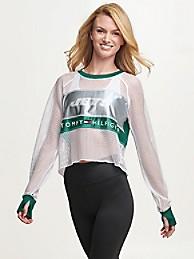 타미 힐피거 Tommy Hilfiger New York Jets Mesh Crop Top,GREEN/NEW YORK JETS