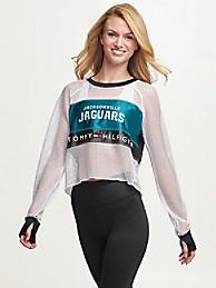 타미 힐피거 Tommy Hilfiger Jacksonville Jaguars Mesh Crop Top,BLACK/JACKSONVILLE JAGUARS