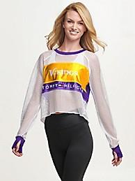타미 힐피거 Tommy Hilfiger Minnesota Vikings Mesh Crop Top,PURPLE/MINNESOTA VIKINGS