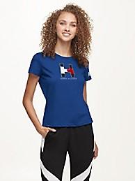 타미 힐피거 Tommy Hilfiger New York Giants Flocked T-Shirt,BLUE/NEW YORK GIANTS