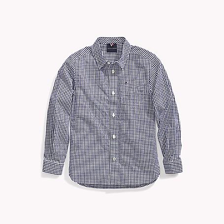 Tommy Hilfiger Boy's Adaptive Plaid Woven Shirt, Wellsley Blue, one size