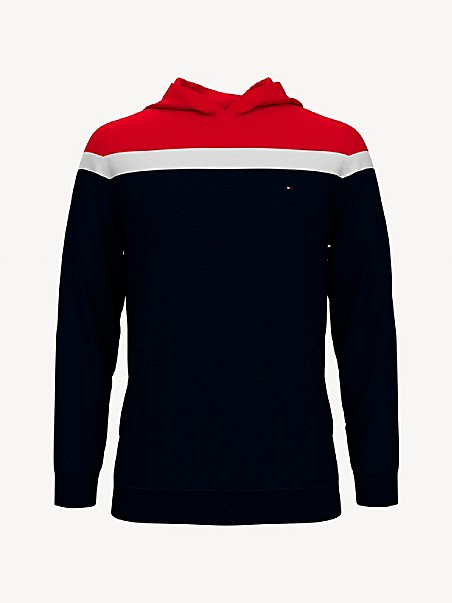 타미 힐피거 키즈 후드 스웨터 Tommy Hilfiger TH Kids Colorblock Sweater Hoodie,SKY CAPTAIN