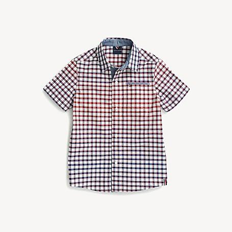 Tommy Hilfiger Boy's Adaptive Plaid Short-Sleeve Shirt, Bright White/ Multi, one size