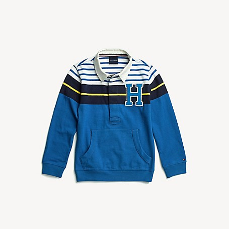 Tommy Hilfiger Boy's Adaptive Colorblock H Rugby, Turkish Sea, one size