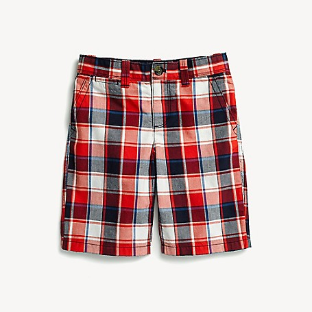 Tommy Hilfiger Boy's Adaptive Plaid Short, High Risk Red, one size