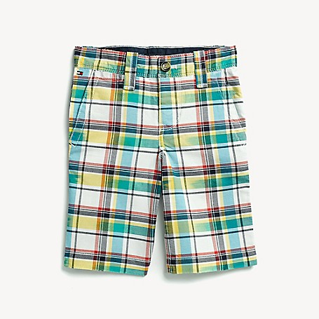 Tommy Hilfiger Boy's Adaptive Plaid Short, Snow White/Multi, one size