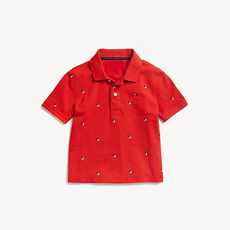 Tommy Hilfiger Boy's Adaptive H Polo, Racing Red, one size