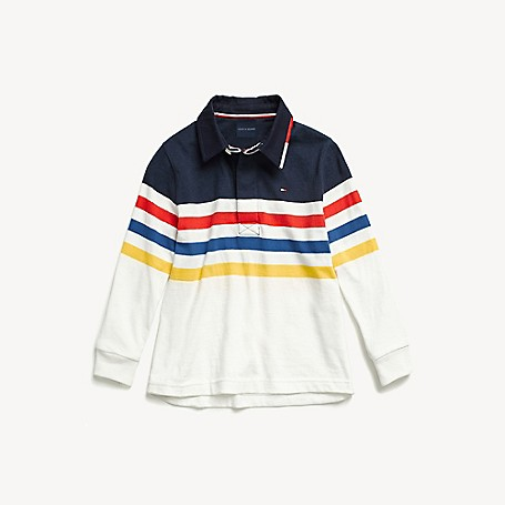 Tommy Hilfiger Boy's Adaptive Colorblock Rugby, Peacoat, one size