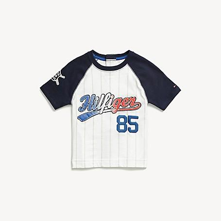 Tommy Hilfiger Boy's Adaptive Hilfiger Baseball T-Shirt, Classic White, one size