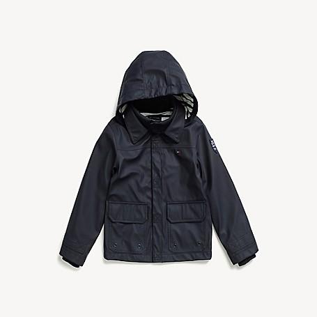 Tommy Hilfiger Boy's Adaptive Hooded Rain Jacket, Peacoat, one size