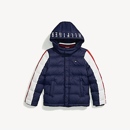 Tommy Hilfiger Boy's Adaptive Hooded Down Puffer Jacket, Peacoat, one size