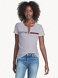 타미 힐피거 Tommy Hilfiger Essential Split-Neck T-Shirt,CS GREY HEATHER
