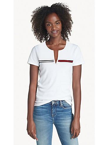 타미 힐피거 Tommy Hilfiger Essential Split-Neck T-Shirt,BRIGHT WHITE