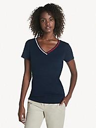 타미 힐피거 Tommy Hilfiger Essential V-Neck T-Shirt,SKY CAPTAIN
