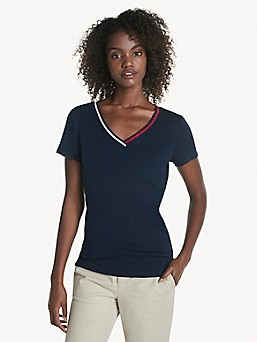 TOMMY HILFIGER DENIM  LADIES T-SHIRT CREAM TURQUOISE and //TURQUOISE with STARS
