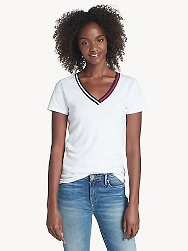 타미 힐피거 Tommy Hilfiger Essential V-Neck T-Shirt,BRIGHT WHITE