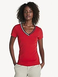 타미 힐피거 Tommy Hilfiger Essential V-Neck T-Shirt,APPLE RED