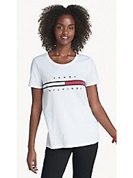 타미 힐피거 Tommy Hilfiger Essential Flag T-Shirt,BRIGHT WHITE