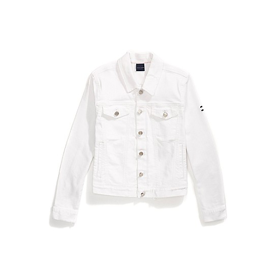 Frayed White Denim Jacket