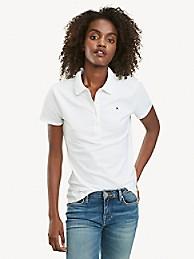 타미 힐피거 우먼 폴로 셔츠 Tommy Hilfiger Regular Fit Essential Stretch Cotton Polo,BRIGHT WHITE