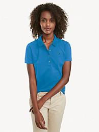 타미 힐피거 우먼 폴로 셔츠 Tommy Hilfiger Regular Fit Essential Stretch Cotton Polo,jewel blue