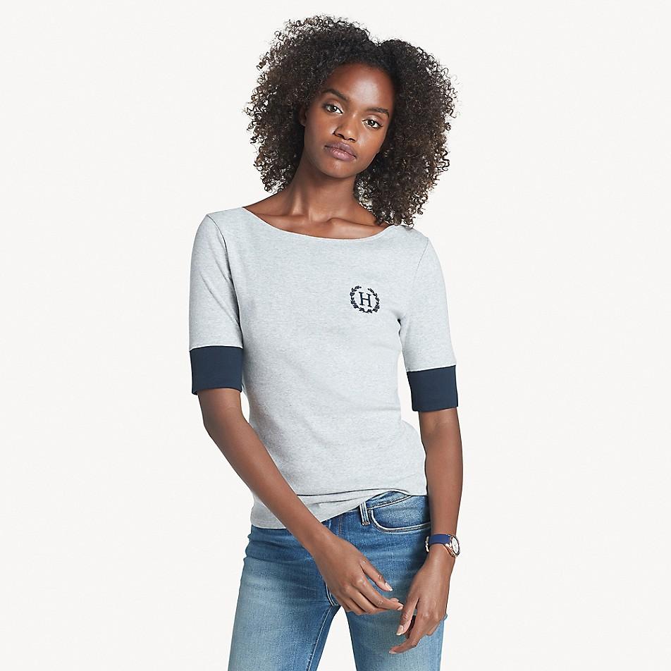 Essential Half-Sleeve Boatneck Logo T-Shirt