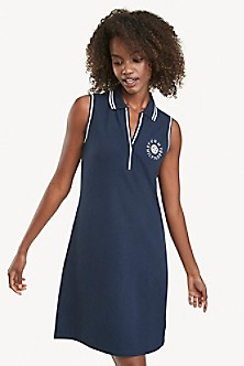 Tommy Hilfiger women's short sleeved navy blue dress with white detail at the bottom