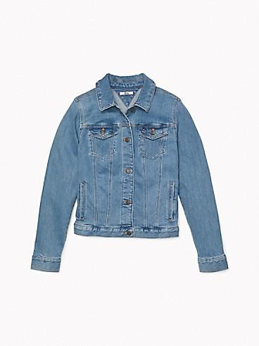 타미 힐피거 우먼 에센셜 트러커 자켓 Tommy Hilfiger Essential Trucker Jacket,LIGHT WASH