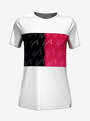 타미 진스 TOMMY JEANS Essential Signature Flag T-Shirt,BRIGHT WHITE / OLD SKOOL RED