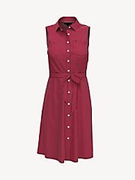 타미 힐피거 셔츠 원피스 Tommy Hilfiger Essential Sleeveless Shirtdress,BARBADOS CHERRY