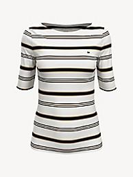 타미 힐피거 Tommy Hilfiger Essential Stripe Boatneck T-Shirt,SNOW WHITE