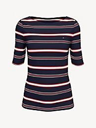 타미 힐피거 Tommy Hilfiger Essential Stripe Boatneck T-Shirt,SKY CAPTAIN
