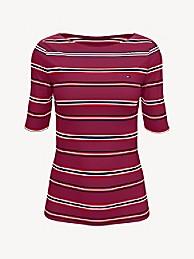 타미 힐피거 Tommy Hilfiger Essential Stripe Boatneck T-Shirt,BEET RED