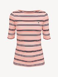 타미 힐피거 Tommy Hilfiger Essential Stripe Boatneck T-Shirt,IMPATIENS PINK