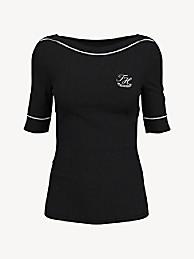 타미 힐피거 Tommy Hilfiger Essential Monogram Boatneck T-Shirt,DEEP BLACK