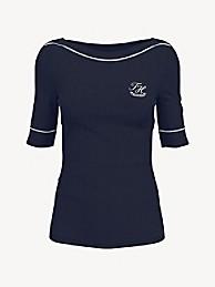 타미 힐피거 Tommy Hilfiger Essential Monogram Boatneck T-Shirt,SKY CAPTAIN