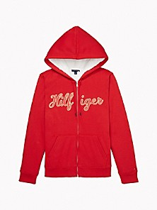 타미 힐피거 Tommy Hilfiger Essential Faux Fur Signature Hoodie,HAUTE RED