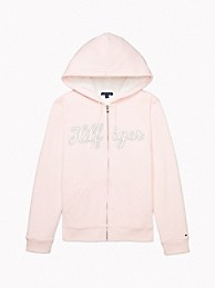 타미 힐피거 Tommy Hilfiger Essential Faux Fur Signature Hoodie,BARELY PINK