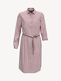 타미 힐피거 셔츠 원피스 Tommy Hilfiger Essential Stripe Shirtdress,CORAL Blush LUSH
