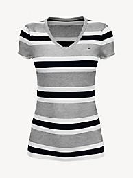 타미 힐피거 Tommy Hilfiger Essential Favorite V-Neck T-Shirt,GREY HEATHER / BLACK