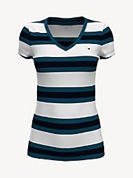 타미 힐피거 Tommy Hilfiger Essential Favorite V-Neck T-Shirt,BRIGHT WHITE / BLUE SEAL