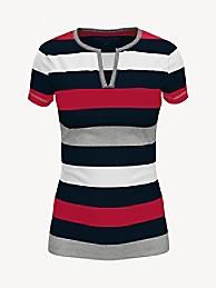 타미 힐피거 Tommy Hilfiger Essential Favorite Split-Neck T-Shirt,DARK FOG HEATHER