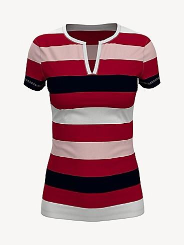 타미 힐피거 Tommy Hilfiger Essential Favorite Split-Neck T-Shirt,CHILI PEPPER