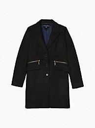 타미 힐피거 우먼 아이콘 에센셜 오버코트 - 딥 블랙 Tommy Hilfiger Icon Essential Overcoat 76J0651