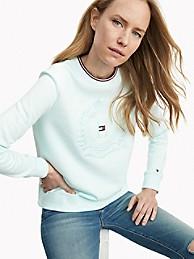타미 힐피거 우먼 에센셜 크레스트 로고 맨투맨 - 제이드 Tommy Hilfiger Essential Crest Logo Sweatshirt 76j1113
