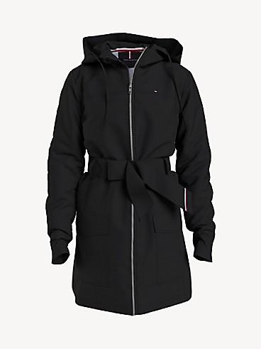 타미 힐피거 우먼 자켓 Tommy Hilfiger Essential Solid Belted Hooded Jacket,deep black