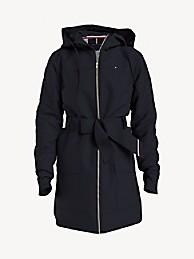 타미 힐피거 우먼 자켓 Tommy Hilfiger Essential Solid Belted Hooded Jacket,masters navy