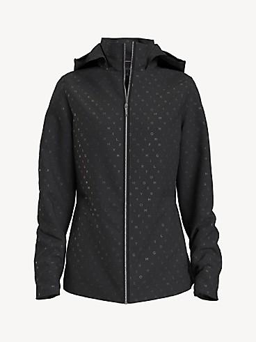 타미 힐피거 우먼 자켓 Tommy Hilfiger Essential Solid Yacht Jacket,glassy lake logo print/ deep black